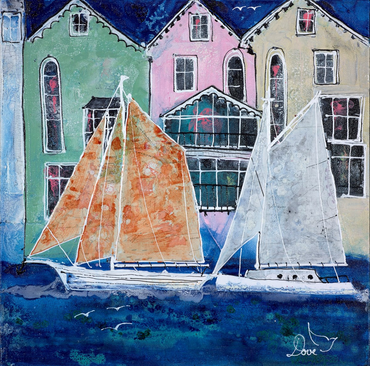 Sailing III by katharine dove -  sized 16x16 inches. Available from Whitewall Galleries